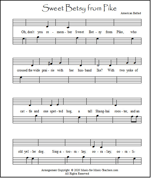 A worksheet for piano students - Sweet Betsy from Pike, missing a few notes and musical symbols.