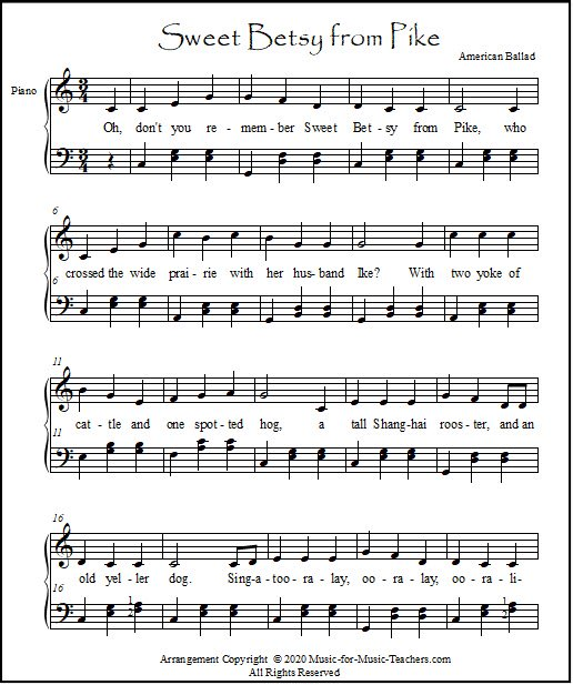 Sheet music for piano, Sweet Betsy from Pike