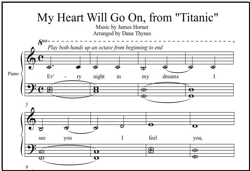 My Heart Will Go On sheet music for beginning piano