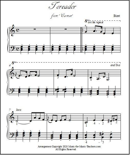 Piano sheet Toreador in key of C