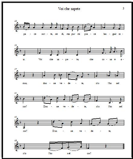 Voi che sapete free vocal sheet music for soprano, from Mozart's The Marriage of Figaro (La nozze de Figaro)