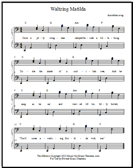 Duet piano part for Waltzing Matilda