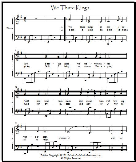 We Three Kings piano music
