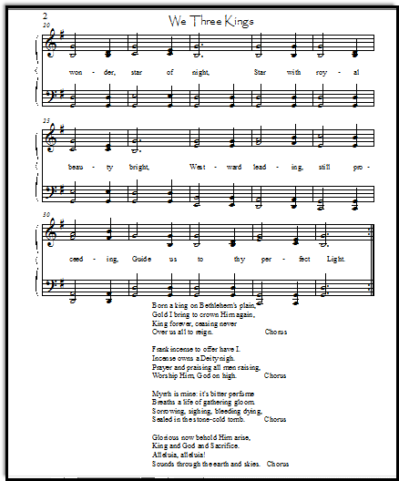 Christmas Carol Lyrics for We Three Kings, in an intermediate piano arrangement