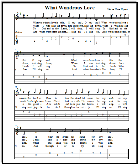 Shape Note hymn What Wondrous Love from The Southern Harmony