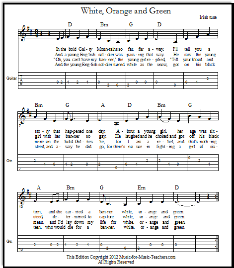 Free Irish Sheet Music with easy guitar tabs, White, Orange and Green