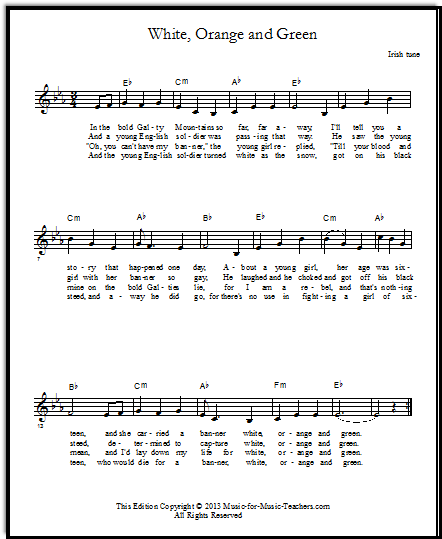 Lead sheet free Irish sheet music White Orange and Green