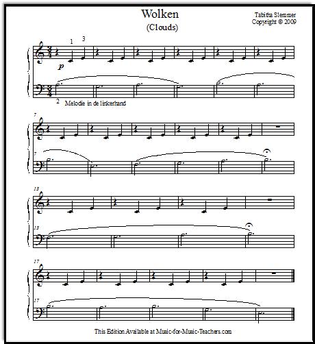 Wolken piano sheet music for beginners