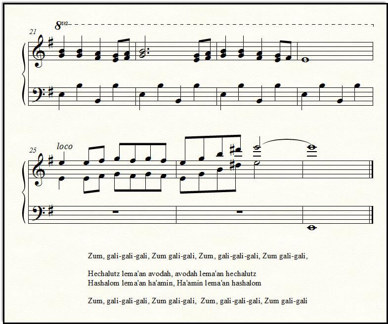 The ending of Zum Gali Gali, for piano