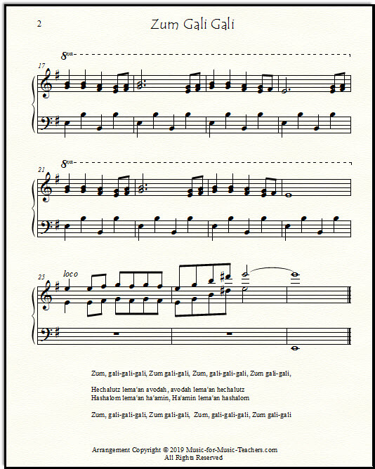 Page 2 of Zum Gali Gali for piano and voice, showing the fancy ending